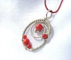 Red coral pendant sterling silver plated handmade wire wrapped jewelry