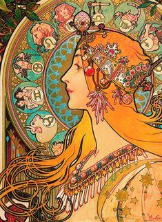 vintagegal:  Alphonse Mucha - Zodiac, 1896 (via)