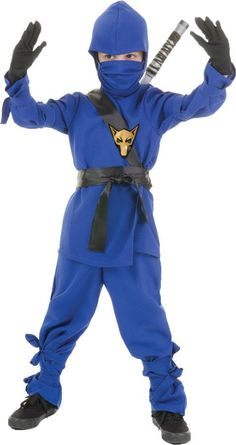 Great-looking ninja costume sure to give your child hours of fun! Matching blue shirt, pants, sash, belt, mask, and hood. Fits childrens small sizes 4-6.