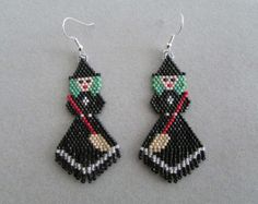 Trick Or Treat Witch Halloween Beaded Earrings Seed Bead Earrings, Simple Earrings, Beaded Earrings, Beaded Jewelry, Handmade Jewelry, Halloween Beads, Halloween Jewelry, Holiday Jewelry, Seed Bead Patterns