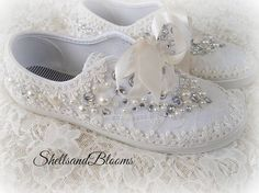 Wedding Bridal Flat Shoes  chic ivory or white by ShellsandBlooms