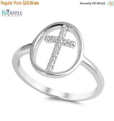 Shiny Clear CZ Religious Cross Lucky Ring Solid 925 Sterling Silver Plain Simple Sideways Religious Cross Religious Ring Gift