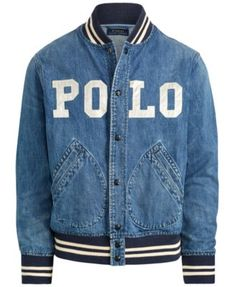 Polo Ralph Lauren Men's Varsity-Inspired Denim Jacket - Denim S Ralph Lauren Hombre, Polo Ralph Lauren, Denim Jacket Men, Bomber Jacket, Varsity Jacket Outfit, Outfits Hombre, Swagg, Street Wear, Menswear