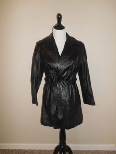 Vintage 70s black Leather Jacket   womens by ATELIERVINTAGESHOP