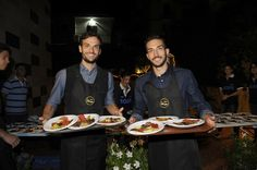 (L-R) Players of SS Lazio Marco Parolo and Danilo Cataldi attend a Charity Event on September 28, 2016 in Rome, Italy.
