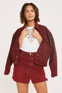 a776504442eb1 Urban Renewal Vintage Customised Overdyed Tint Red Denim Skirt