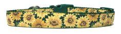 Sunflower Dog Collar Adjustable Dog Collar by RuffNStuffCollars