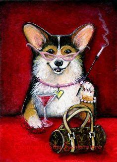 Like Mother, like daughter corgi cartoon painting of corgi smoking and drinking with purse and pearls