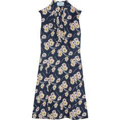 Prada Ruffled floral-print crepe dress ($1,765) ❤ liked on Polyvore featuring dresses, prada, navy, prada dresses, frilly dresses, blue floral dress, floral dresses and ruffle dress