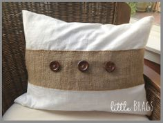 Hometalk :: Adding A Little Cottage Charm With a Grain Sack & Burlap Accent Pillow