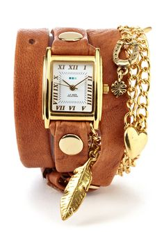 La Mer Nature Wrap watch in Tobacco/Gold.