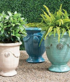 Urn-shaped and adorned with garlands and medallions, these hand-glazed ceramic planters are a staple in French gardens. With the special nature of the reactive glaze, the Azure finish displays a range of variation in tone from soft aqua and turquoise to deep azure. Each planter will appear inherently unique. Our Anduze Indoor/Outdoor Planters can stand alone as pottery pieces or complement your chosen plantings. Outdoor Planters, Indoor Outdoor, Garden Oasis, Home And Garden, Ceramic Planters, Planter Pots, Aqua, Turquoise, Furniture Placement