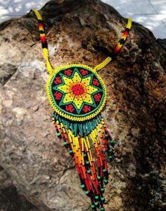 Huichol Necklace by Niktee on Etsy Seed Bead Jewelry, Seed Bead Earrings, Beaded Earrings, Beaded Jewelry, Native American Beadwork, Native American Jewelry, Collar Redondo, Native Beading Patterns, Beaded Crafts