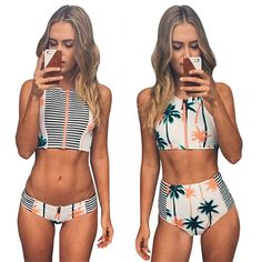 Print Floral Palm Tree Bikini Set,High Neck Tank Zipper Striped Swimsuit Padded Bra High Waist Swimwear Vintage Bathing Suit