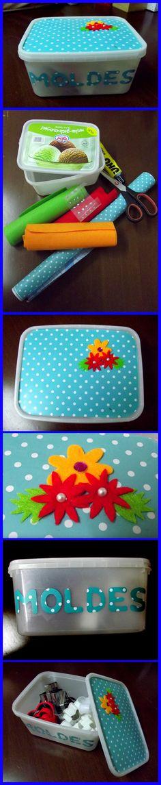 Una simple caja plástica de helado se puede convertir en un simple y hermoso…