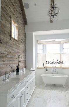 Reclaimed Wood Wall Bathroom. Transitional bathroom with Reclaimed Wood Wall. #ReclaimedWoodWall #Bathroom  Blackband Design.