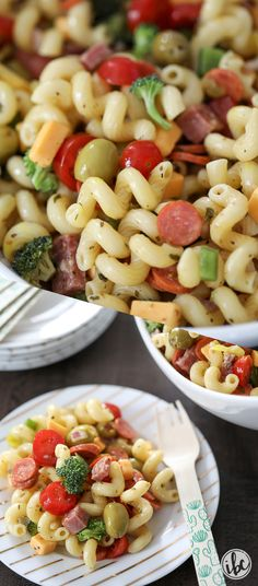 Really delicious Pasta Salad recipe packed with flavor and vegetables - perfect for summer entertaining | Inspired by Charm