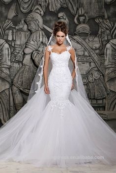 2014 Designers White Lace And See Through Bottom Tulle Mermaid Wedding Dresses With Removable Train Bridal Dresses Tulle
