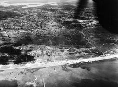 Aerial view of Utah Beach,  morning of june 6, 1944. Note flooded Merderet River valley at top of photo.