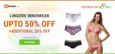 Use Coupon Code AZADI26 & Get Up To 50% OFF + EXTRA 26% OFF on Lingerie Innerwear Products !  #RepublicDay #Offers #Discounts #Deals #Lingerie #Innerwear #Clothing #Ladieswear #Womenswear
