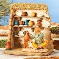 Fontanini Pottery Shop Italian Nativity Village Building Figurine 55584 Italy for sale online Fontanini Nativity, Diy Nativity, Christmas Nativity Scene, Christmas Crafts, Nativity Sets, Christmas Printables, Christmas Ideas, Felt House, Pottery Shop