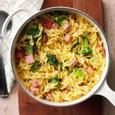 Creamy Noodle Casserole - Provided by Taste of Home Dutch Oven Recipes, Pork Recipes, Pasta Recipes, New Recipes, Cooking Recipes, Favorite Recipes, Pasta Meals, Kraft Recipes, What's Cooking