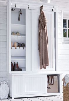 22 Shoe Storage Ideas Creating Space Saving Interior Design Shoe storage ideas can be simple and sophisticated, cheap and expensive. Smart, practical and space efficient [. Front Closet, Entryway Closet, Hallway Storage, Closet Storage, Closet Doors, Storage Hooks, Storage Spaces, Cabinet Closet, Cabinet Storage