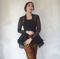 New Party Nigth Fashion Models Ideas Kebaya Peplum, Kebaya Lace, Batik Kebaya, Batik Dress, Kimono, Peplum Dress, Model Kebaya Brokat Modern, Kebaya Modern Hijab, Dress Brokat Modern