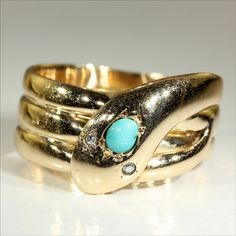Antique Victorian Turquoise and Diamond Snake Ring