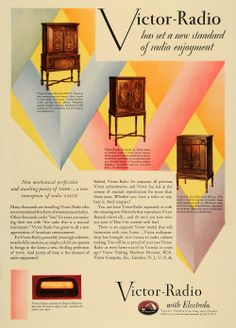 1930s+Radio+Cabinet   Details about 1930 Ad Victor Electrola Radio Cabinet Models RE75 R52 ...