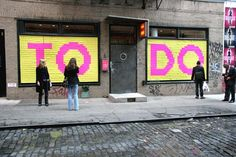 """""""To Do List"""" a public interactive art installation created by an artist collective // Mission: Small Business℠ Post It Art, Interactive Art, Public Art, Public Spaces, Art Archive, Installation Art, Art Installations, Print Packaging, Experiential"""