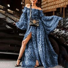 1d49b3c141a Women Leopard Print Maxi Dress Club Wear Off Shoulder Slit Split Queen  Dress Hot