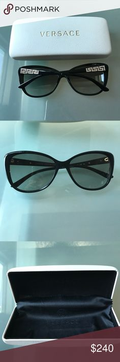 NWOT Versace cat-eye sunglasses I got these sunnies last year, but just never used them. These are cat eye frames with the signature Versace pattern. No scratches on the glasses itself. Versace Accessories Sunglasses