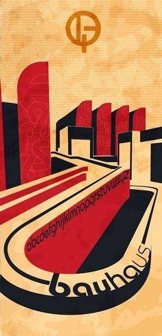 """Bauhauss: A imagem representa a escola de Bauhaus, que foi considerada a primeira escola de design do mundo, o poster traz a fonte exclusiva e orignal da Bauhaus, e as caracteristicas desse """"movimento"""" são, a união da arte e do artesanato, a funcionalidade dos produtos artísticos, influências de arquitetura e urbanismo e também do construtivismo."""