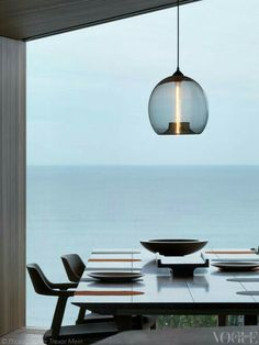 Detail of the dining room in the Fairhaven Beach House designed by John Wardle architects. From 'Open Invitation', a story on page 147 of Vogue Living Jan/Feb Photograph by Trevor Mein. Interior Desing, Interior Exterior, Interior Architecture, Coastal Living, Home And Living, Vogue Living, Luminaire Design, Sophisticated Style, Beautiful Homes