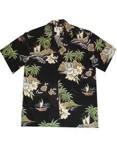 4bacc791 KY'S Island Sailing Black Men's Hawaiian Shirt | AlohaOutlet Mens Hawaiian  Shirts, Black Men,