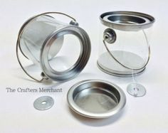 TWO Mini Metal Tin Pails with Clear Sides for Viewing, Mini Clear Buckets with Secure Fit Lids