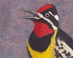 Yellow-Bellied Sapsucker 1 (Original Hand-Pulled Collograph of Small Male Woodpecker). Etsy Seller, Bonnie Murray Art