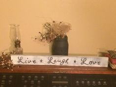 Live laugh love primitive shelf sitter by Chessyflowers on Etsy