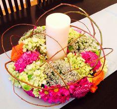 Centro de mesa #corona #flores