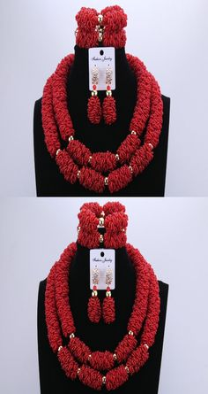 Splendid Rose Nigerian Wedding African Costume Beads Jewelry Sets 2 Layers Party Bridal Necklace Bracelet Earrings Free Shipping