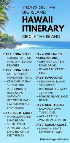 7 day Hawaii itinerary: Best things to do on the Big Island Hawaii list - Hawaii vacation ideas with big Island hawaii travel tips first trip to Hawaii. Vacation Ideas, Hawaii Vacation, Hawaii Travel, Beach Trip, Vacation Trips, Beach Travel, Hawaii Hawaii, Usa Travel, Hawaii Life