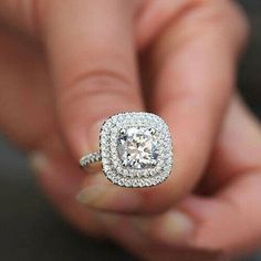 Double Halo Off White Round Moissanite Bridal Engagement Wedding Ring 925 Sterling Silver Double Halo Engagement Ring, Round Halo Engagement Rings, Deco Engagement Ring, Wedding Engagement, Halo Rings, Bridal Rings, Wedding Rings, Wedding Stuff, Sweetie Belle