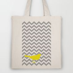 chevron tote with a bird on it! from http://society6.com/PrissDesigns/Yellow-Bird-on-Gray-Chevron_Bag
