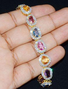 Sapphire Diamond Bracelet - Multi Color Sapphire Bracelet - Natural 18K Solid Gold 20.3CTS VS F Diamond Sapphire Tennis Bangle Bracelet