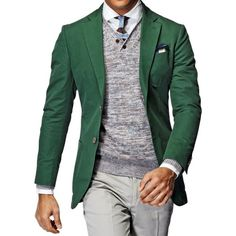 Suit Supply Green Cotton/Linen Sport Coat