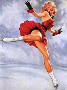 Ice skating pin up - L& J would like Pin Up Vintage, Vintage Cards, Vintage Images, Pinup Art, Ice Skating, Figure Skating, Pin Up Girls, Mode Pin Up, Beste Comics