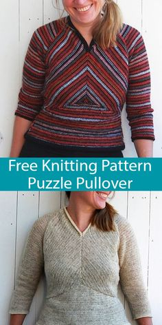 Free Knitting Pattern For Puzzle Pullover Sweater - Top With ~ kostenloses strickmuster für puzzle pullover sweater - top with ~ patron de tricot gratuit pour puzzle pull pull - haut avec Sweater Knitting Patterns, Knit Patterns, Free Knitting, Baby Knitting, Ravelry, Knitted Bags, Knitted Gifts, Sport Weight Yarn, Learn How To Knit