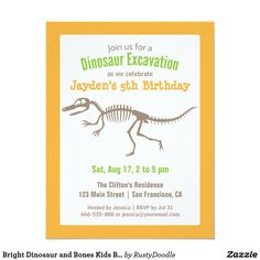 Bright Dinosaur and Bones Kids Birthday Party Card