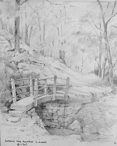 Wharnley Beck Bridge Allensford Co. Graphite Drawings, Pencil Art Drawings, Drawing Sketches, Sketching, Landscape Drawings, Landscape Art, Bridge Drawing, Pencil Shading, Ink In Water